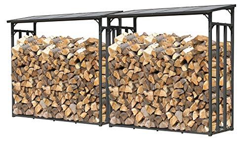 QUICK STAR 2 Stück Metall Kaminholzregal Anthrazit XXL 185 x 70 x 185 cm Garten Kaminholzunterstand 4,6 m³ / 7 SRM Kaminholzlager Stapelhilfe Aussen
