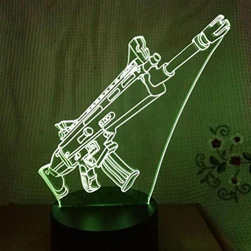Estrategia de tiro Juego de supervivencia Arma Pistola rifle Submachine Pistol Overwatch Lámpara de mesa de luz nocturna LED 3d 7 colores Regalo para niños Luz nocturna Decoración del hogar