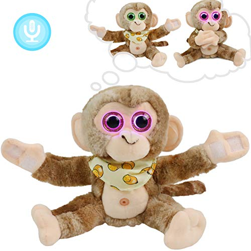 Houwsbaby Talking Baby Monkey Repeat What You Say Sensor Light Eyes Singing Toy Interactive Stuffed Animal Early Learning Gift for Toddlers, Brown, 8''