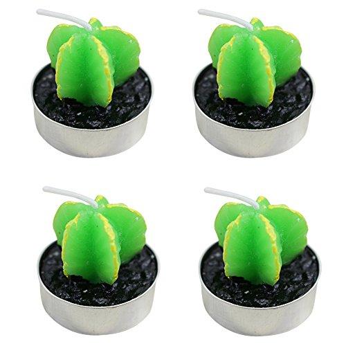 itemer 4grün Pflanze Kerzen/Teelichter, niedliche Pflanze Kerzen Geschenk Set für Geburtstag Festivals, Hochzeit Dekoration, Carambola, 4*3.5cm