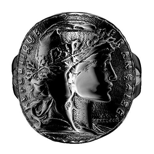Bobijoo Jewelry – Anello da donna chevalier piegato matrimonio moneta 20 franchi Mariane Louis Napoleon, 4 colori a scelta e Acciaio inox, 16, colore: Noir - Acier Inoxydable 316, cod. BAF0035B_6101