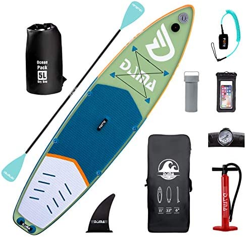 DAMA Inflatable Stand Up Paddle Board 11 x32 x6 Inflatable Yoga Board Dry Bags Camera Seat Floating product image