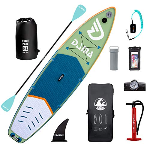 DAMA Inflatable Stand Up Paddle Board 11'x32 x6, Inflatable Yoga Board, Dry Bags, Camera Seat, Floating Paddle, Single Action Pump, Board Carrier, Durable & Stable for 3 People