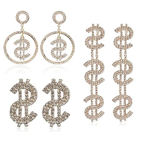 KunmniZ Kit de Pendientes de dólar de Cristal Brillante de 3 Estilos símbolo de Signo de Dinero Kit de Pendientes Colgantes de Gota joyería de Moda Pendientes de Diamantes de imitación de dólar