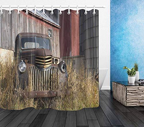 ECOTOB Duschvorhang mit Bauernhof-Motiv, rustikaler Retro-Stil, wasserdicht, mit Haken, 183 x 183 cm