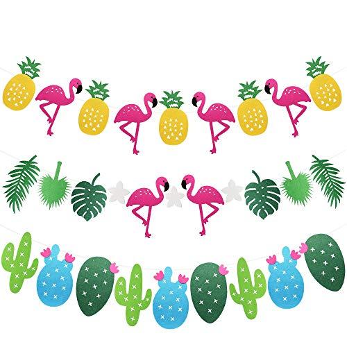Hysagtek 3 juegos de arena hawaiana tropical, flamenco piña hojas tropicales cactus banderines banderines colgante decoración verano playa luau fiesta cumpleaños decoración suministros