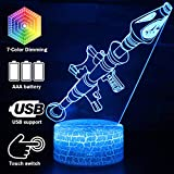 Rocket Launcher LED Night Lamps Fort-nited Battle Royals 3D Mood Light 7 Color Changing Bedroom Home Decor Luminaries Kids Gifts (Crack Rokter Launcher)