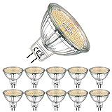 EACLL Bombillas LED GU5.3 2700K Blanco Cálido Sin Parpadeo MR16 AC/DC 12V 6W 595 Lúmenes Equivalente 75W Halógena. 120 ° Luz Blanca Cálida Lámpara Reflectoras Spotlight, Pack de 10