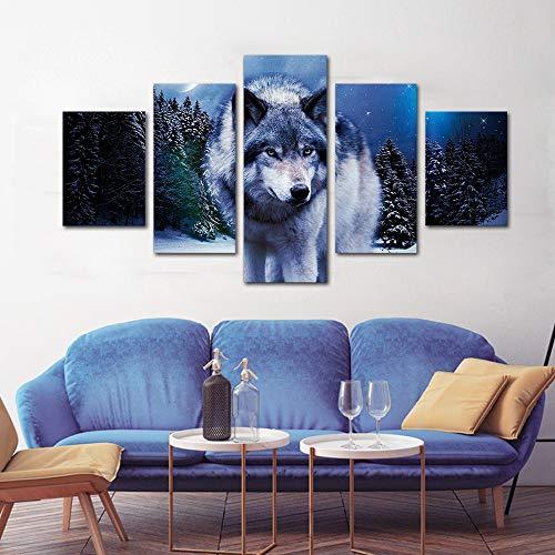 Rahmenlose Malerei Wolf Dekoration Wohnzimmer Tier Poster und Drucke Wohnzimmer Wandkunst Leinwand Malerei Wandbild SchlafzimmerZGQ3949 20x35cmx2, 20x45cmx2, 20x55cmx1