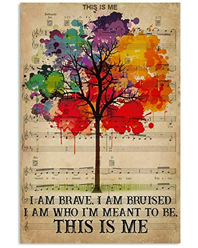 Tree I Am Brave I Am Bruised This is Me Paper Art Poster - No Frame(16x24)