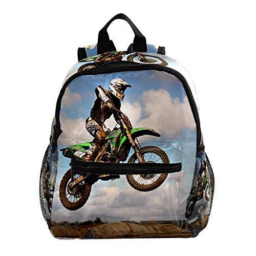 Schulranzen Motorrad Motocross Motorrad Kinderrucksack Babytasche Mini Rucksack für 3-8 Jährige Jungen und Mädchen im Kindergarten 25.4x10x30CM