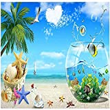 Papel pintado del acuario de las estrellas de mar del árbol de coco del mar para los murales de las Pared Pintado Decoración dormitorio Fotomural sala sofá mural dormitorio background-300cm×210cm
