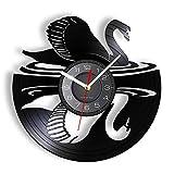 Zhoulv Reloj de Pared artístico con Efecto de Ganso y Cisne Hecho de Vinilo láser Grabado longplay álbum de Vinilo Animales Decoración de la Pared para el hogar-Sin LED