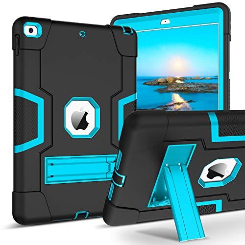 BENTOBEN Funda iPad 10.2 2019 Purpurina, Carcasa iPad 7 Generacion Cover Combinada 3-en-1 TPU Silicona+PC Cubierta Protectora Antigolpes Brillante Resistente Función de Soporte Plegable-Negro y Azul