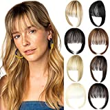 Bangs Hair Clip in Extensions Natural Fringe Bangs Clip-on Front Neat Flat Bang One Piece Long Straight Hairpiece for Women