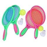Raqueta de Tenis para niños LIOOBO 4PCS / 2et Raqueta de bádminton Artículos Deportivos para niños Jugar al Aire Libre