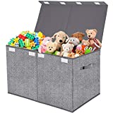 Toy Chest Organizer with Flip-Top Lid,Collapsible Kids Storage for Nursery,Playroom,Closet Home...