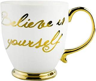 "GulfDealz Coffee Mug,""Believe in yourself"" Motivational gold handle Ceramic Mug- Gold & Ivory"