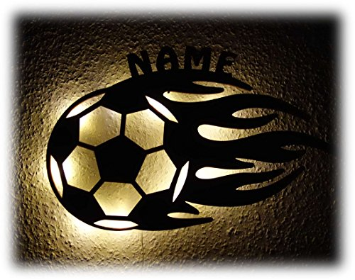 Led Fussball Geschenke Jungs Flamme Nachtlicht Lampe mit Namen personalisiert I Optional mit Farbe