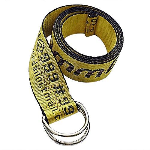 WDOIT Mode Jugend Gürtel Stickerei alphanumerische Dekorative Breite Gürtel Doppelter Ring, Leinwand, Gelb, 130*3.5cm