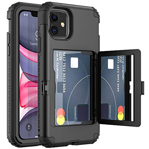 ANEMAT Case for iPhone 11 Case Wallet Card Holder Heavy Duty Shockproof Protective with Mirror Credit Card Stand Phone Case Cover for Women or Men Compatible with iPhone 11 6.1 inch, Dark Black