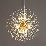 Vikaey Dandelion Crystal Chandeliers, 9-Light Firework Modern Sputnik Chandelier Ceiling Light Fixture Pendant Lighting for Dining Room Bedroom Kitchen Island Living Room ,Glod