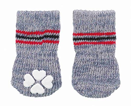 Trixie 19501 Hundesocken, Anti-Rutsch, XS–S, 2 St., grau