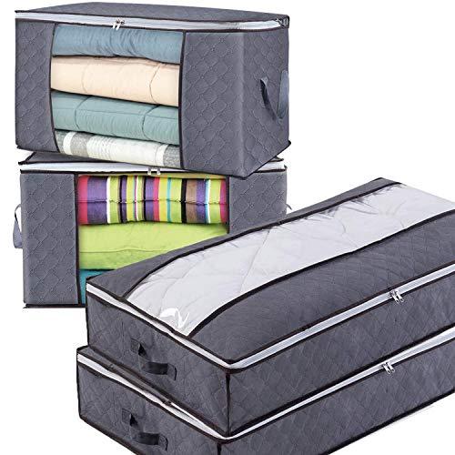 Bolsas de Almacenaje Plegable Caja de Tela de Fibra de Carbón de Bambú para Almacenamiento y Organización de Edredón, Sábanas Fundas Mantas y Ropa Fuera de Temporada (Gris - (2 Altas + 2 Largas))