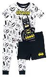 LEGO Batman Pajama Set,3 Piece PJ Set with Extra Pajama Shorts, Cotton Pajamas,White, Boys size 6