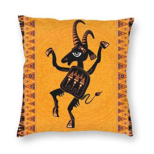 Klotr - Fundas de almohada decorativas para decoración de arte aborigen, figura de chivo expiatorio (cabra sagrada bailanda), 18 x 18 pulgadas