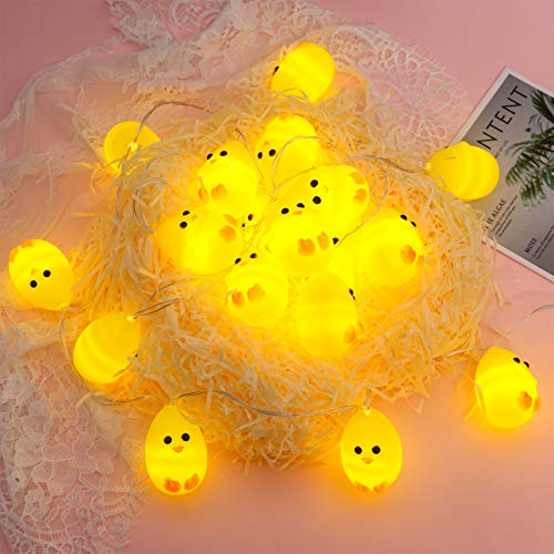Cute Easter String Lights 20 LEDs Chicken String Lights 9.8 Ft Battery Powered Easter Decoration Light String Indoor Decorative Fairy Twinkle Lights