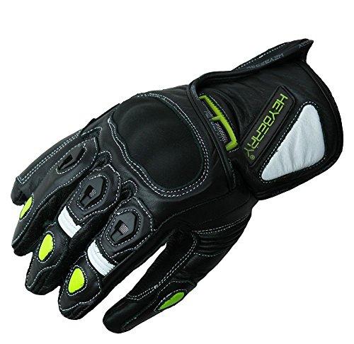 HEYBERRY Motorradhandschuhe kurz Leder schwarz neon Gr. M