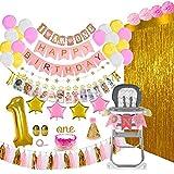ZSQQSCL Decoraciones Fiesta Cumpleaños,1 Año De Edad Bebé Globo De Cumpleaños Set (53 Pcs), Combinación De Bricolaje Foto Banner Borla Dorada, Cortinas, Globos De Látex Multicolor para Niños, Adulto,
