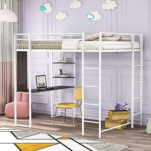 MWKL La más Nueva Cama Alta de Metal con Escritorio y 2 estantes para niños y Adolescentes, Cama Alta con barandillas de Seguridad y Escalera para Dormitorio, sin Necesidad de somier