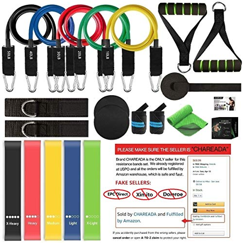CHAREADA 22 Pack Resistance Bands Set Workout Bands 5 Stackable Exercise Bands 5 Loop Resistance Bands 2 Core Sliders – Door Anchor Handles Ankle Straps Carry Bag Instant Cooling Towel Wrist Wraps