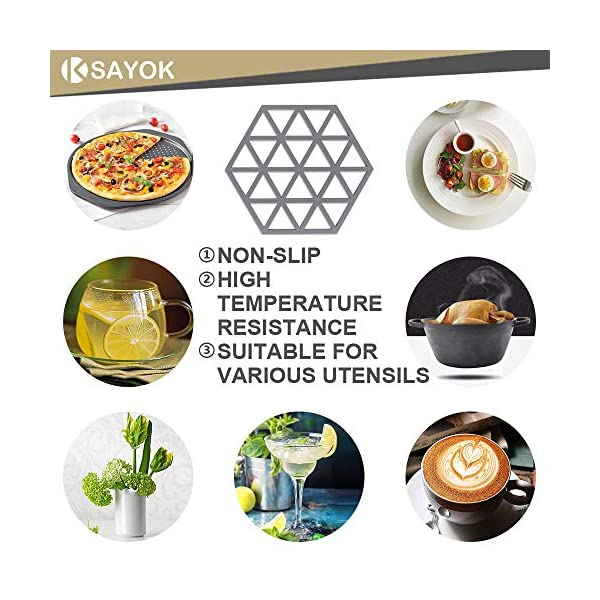 Silicone Trivet Mats and Hot Pads 3 Pcs 6.33 5.5 IN Hexagon Heat Resistant Multifuntion Kitchen Tool for Bowl Mats, Dish…