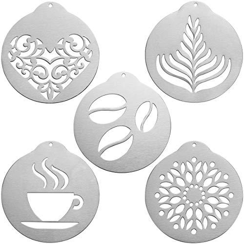 Hemoton 5 stücke kaffee schablonen edelstahl kreative kaffee dekorieren schablonen cappuccino kaffeegirlande formen für zu hause restaurant bar