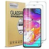 AOKUMA Cristal Templado Samsung Galaxy A70, [2 Unidades] Protector Pantalla para Samsung Galaxy A70 Robusto Antiarañazos Antihuellas con Borde Redondeado Dureza 9H+ Antiburbujas