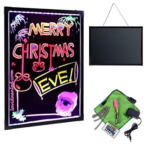 Pizarra LED luminosa 60x80cm, RGB, acrílica + PACK 9 ROTULADORES