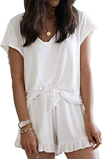 LuckyMore Women's Pajama Short Sleeve Sleepwear Soft Pj Set V Neck Top and Shorts Pajamas Set