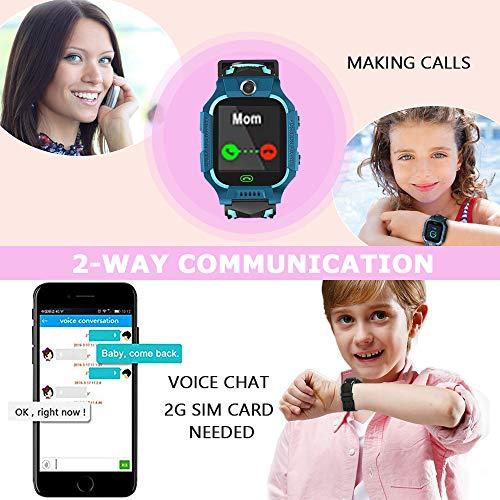 Openuye LBS-Kinder SmartWatch Telefon Uhr, Kamera+SOS Notruf+Telefonfunktion+LBS Positionierung+Taschenlampe, für Mädchen Jungen Geburtstag, Support auf deutsch (Grün)
