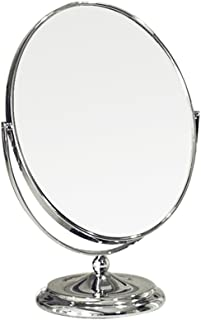 ZhuFengSD Desktop Makeup Mirror Round Standing Makeup Mirror/Cosmetics Mirror, Two-Sided, 20.5x31cm, Silver Bathroom,Cloakroom
