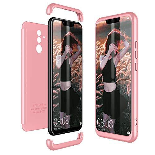Winhoo per Cover Huawei Mate 20 Lite 360 Gradi Full Body Protezione Custodia Huawei Mate 20 Lite Silicone Rigida Snap On Struttura 3 in 1 Antishock e Antiurto Case - Oro Rosa