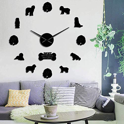 3D DIY wandklok moderne generatie oude hond Sticker 3D DIY muur klok kwarts klok acryl spiegel sticker muur decoratie klok muur decoratie gift 37inch