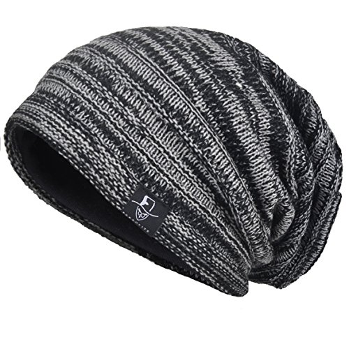 VECRY Hombre Flexible Gorros de Punto Tejer Casquete Artísticos Sombreros (Negro)