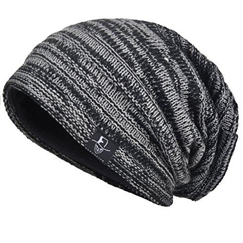VECRY Herren Slouchy Stricken Übergroße Beanie Skull Caps Künstlerische Hüte (Schwarz)