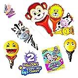 Animales globos de cumpleaños - Decoracion mini globos de helio o aire & 4 caramelos reventados - Regalos de cumpleaños para niños, niñas y adultos - 4 bolsas de dulces & 2 globos de fiesta