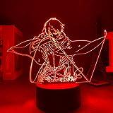 Led noche luz 3D luces anime ataque a Titan Levi Ackerman ataque a Titan LED noche luz dormitorio lámpara de mesa erjie