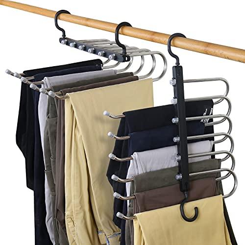 Perchas para Pantalones, Perchas de Armario de Ahorro de Espacio 6 Capas 2 Usos Multi Funcional Percha para Pantalones Pechero Organizador de Armario para Pantalones Bufandas Corbatas (Black-2PCS)