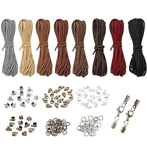Gativs Lederbänder 8 Stück 5m x 3mm Lederband Flach Lederbänder zum Basteln Lederschnur Lederband Leder Schnur Faden Lederband Kette mit Kettenverschlüsse für Lederbänder für DIY Armband